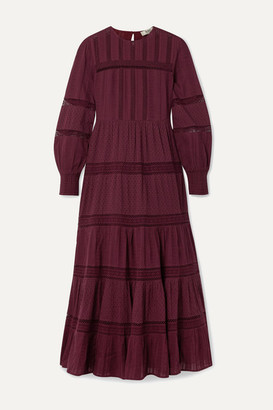 Sea Pascale Crochet-trimmed Embroidered Cotton-voile Maxi Dress - Burgundy