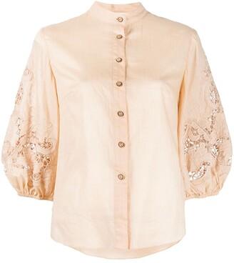 Zimmermann Embroidered Puff Sleeve Shirt