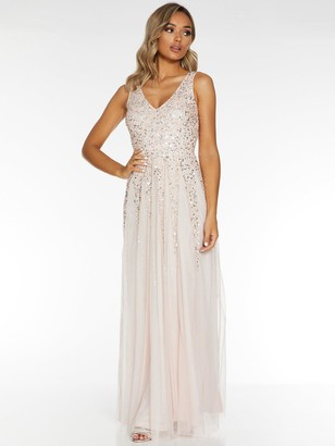 Quiz Sequin Mesh Embellished Sleeveless Maxi Dress - Blush