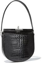 Gu De Demilune Small Crocodile-Embossed Shoulder Bag
