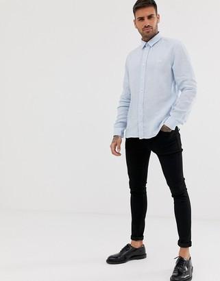 HUGO Evart tonal logo linen shirt in light blue