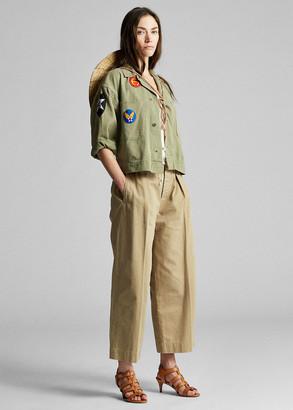 Ralph Lauren Cropped Cotton Wide-Leg Pant