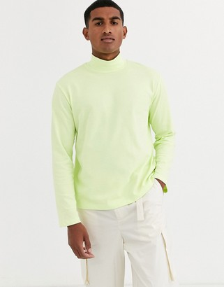 ASOS loose fit long sleeve neon t-shirt with turtle neck