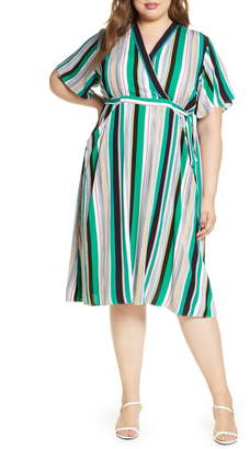 ELOQUII Stripe Faux Wrap Dress
