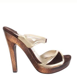 Jimmy Choo Brown Wooden Heel Sandals Size 36
