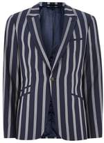Topman Navy And White Stripe Muscle Fit Suit Jacket