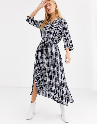 Selected check maxi dress-Navy