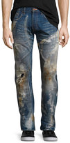 PRPS Noir Stained & Distressed Slim-Straight Jeans, Blue