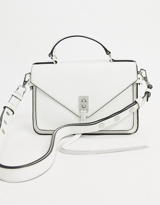 Rebecca Minkoff darren small leather messenger bag with silver clasp in white