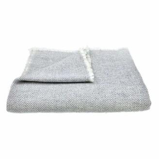 Slate & Salt Herringbone Gray Cashmere Throw
