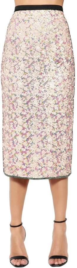 Antonio Marras Sequined Two Tone Lace Midi Skirt