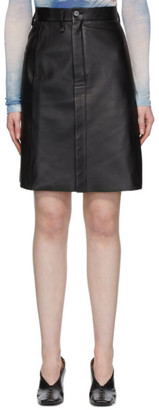 Acne Studios Black Leather Pencil Skirt