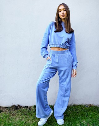 Bershka wide leg jogger co-ord in blue