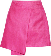 Maiyet Wrap-effect Cotton And Silk-blend Mini Skirt - Fuchsia
