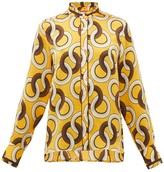 F.R.S For Restless Sleepers F.R.S – For Restless Sleepers Eurito Circle-print Hammered-silk Blouse - Womens - Yellow Multi