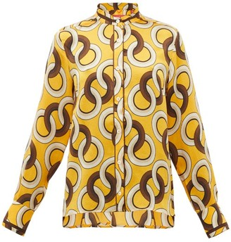 F.R.S For Restless Sleepers Eurito Circle-print Hammered-silk Blouse - Yellow Multi