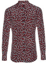 Saint Laurent Card-suit print long-sleeved silk shirt