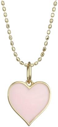 Sydney Evan 14K Gold Beaded Heart Pendant Necklace