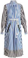 Sonia Rykiel Balloon-sleeved striped cotton-poplin dress