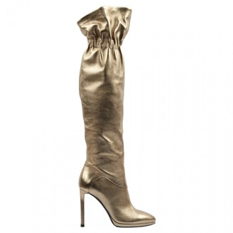Roberto Cavalli Gold Leather Boots