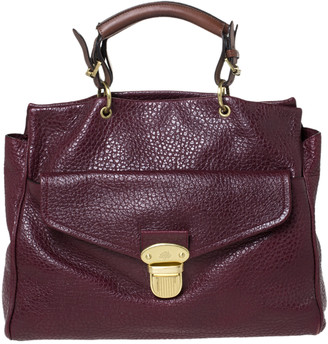 Mulberry Burgundy Grained Leather Polly Push Lock Tote
