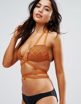 Asos FULLER BUST Mix and Match Crochet Lace Scallop Strappy Triangle Wrap Bikini Top DD-G
