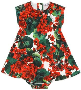 Dolce & Gabbana Floral Print Interlock Dress W/ Diaper