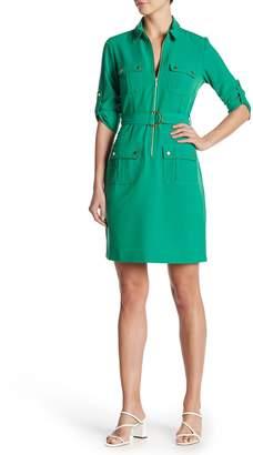 Sharagano Front Zip Pocket Dress