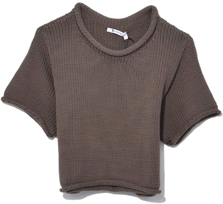 Alexander Wang Open Stitch Knit Cropped Sweater in Sage