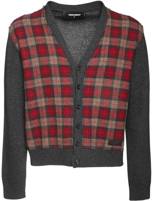 DSQUARED2 Check Wool Knit Cardigan