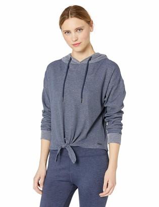 Andrew Marc Women's Pinstripe Denim Jersey Hooded Tie Front Top