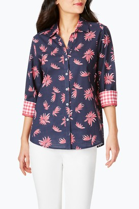 Foxcroft Mary Floral Gingham 3/4 Sleeve Shirt