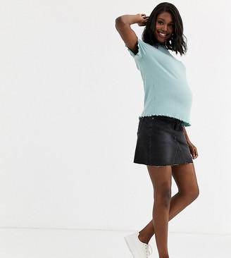 Bandia Maternity denim mini skirt with removeable band