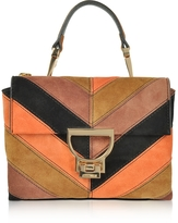 Coccinelle Arlettis Chevron Color Block Suede Mini Shoulder Bag