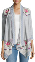 Johnny Was Sabine 3/4-Sleeve Jersey Jacket, Gray