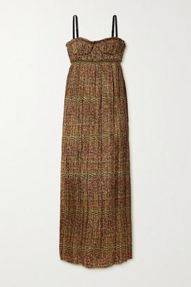 KHAITE Jordyn Pleated Floral-print Twill Midi Dress - Gold