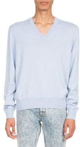 Maison Margiela Elbow-Patch V-Neck Sweater