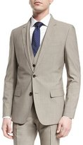 HUGO BOSS Huge Genius Slim Houndstooth Three-Piece Wool Suit, Tan