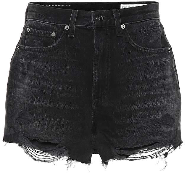 375046ea Distressed Black Denim Shorts - ShopStyle