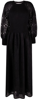 Alberta Ferretti Fitted-Bodice Panelled Dress