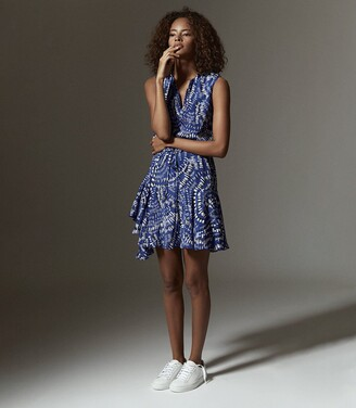 Reiss Elsie - Printed Mini Dress in Blue