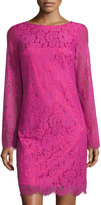 Neiman Marcus V-Back Lace Dress, Pink