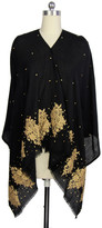 Saachi Gold Lace Motif Black Wool Wrap