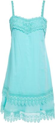 Charo Ruiz Ibiza Volantes Crocheted Lace-trimmed Cotton-blend Voile Mini Dress