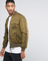 Asos Bomber Jacket with Multi Pockets and Straps in Khaki