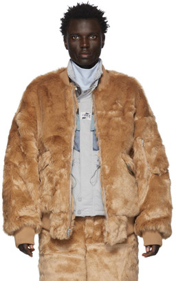Landlord Brown Faux-Fur Bomber Jacket