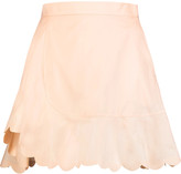 See by Chloe Scalloped cotton-poplin mini skirt