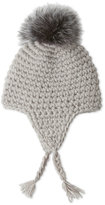 Dena Chunky Knit Hat with Real Fox Fur Pom-Pom