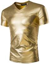 Idopy Men`s Stylish Night Club Coating Metallic T-Shirts Tees L