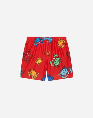 Dolce & Gabbana Nylon Swimming Trunks With Crab Print